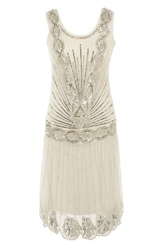 Cream Off White Sequin Charleston Flapper UK 10 Gatsby Dress 1920's Deco Dress | eBay