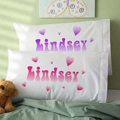 Personalized Girls Pillowcases - Lots of Hearts Design by PersonalizationMall.com. $14.20. Sweet Dreams are guaranteed when she rests her head on her very own personalized pillowcase.Choose from our pink or purple designs, each featuring fun heart shapes in gradient shades of your selected color. To make the pillowcase theirs alone, we print with your child's first name in the center of the design. Pillowcase is made of a comfy 60/40 cotton/poly blend. Standar...