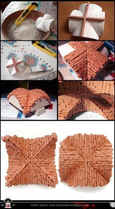 Domus project 14-15: Miniature cross vault with clay bricks http://pietrasupietra.blogspot.com/2012/02/construction-14-cross-vault-support.html - http://pietrasupietra.blogspot.com/2012/02/construction-15-brick-cross-vault.html  The Domus project is the construction in scale 1:50 of an imaginary medieval palace. It's made of clay, stones, slate, wood and other construction materials in the style of rich genoese buildings from the middle of XIV century.