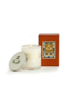 Mediterranean Jasmine Candle Agraria's Crystal Candles are presented in a decorative crystal glass that is a modern interpretation of the woven palm leaf cases that were an Agraria trademark in the 1980s. The intricate glass pattern accentuates the movement of the flame to create a luminous and mesmerizing glow. Each 7 oz/198 gram candle includes a sliver-plate lid stamped with the Agraria crest.    Approximate burning time: 30-40 hours.   Mediterranean Jasmine Candle by Agraria. Home…