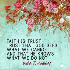 """Faith is trust - trust that God sees what we cannot, and that he knows what we do not."" - Dieter F. Uchtdorf"