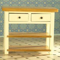 the dolls house emporium cream shaker style tablecream shaker style table with drawers and shelvesbookcases shelvesdolls house furniture bookcase dolls house emporium