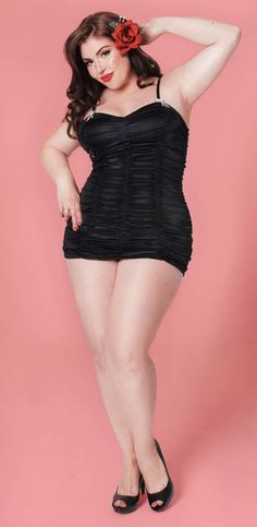 Vintage Swimsuit - The Marilyn 1pc Retro Swimsuit by Pinup Couture - Black in Plus Sizes
