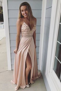 Straps V Neck Beads Chiffon Long Prom Dress with Side Slit