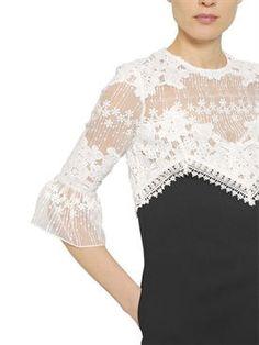 self-portrait - women - dresses - floral lace & crepe shift dress