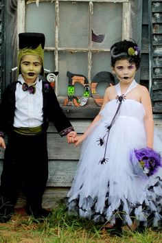 Halloween Costume Bride of Frankenstein Tutu Dress by atutudes