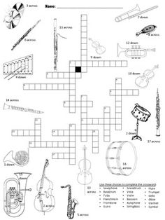 Musical Instruments Picture Crossword by Cup O' Tee Music Resources Music Anchor Charts, Music Education Activities, Teaching Resources, Music Theory Worksheets, Music Lessons For Kids, Middle School Music, Elementary Music, Music Classroom, Teaching Music