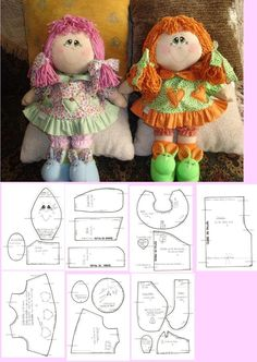 Discover thousands of images about doll pattern . by cathy Doll Sewing Patterns, Sewing Dolls, Doll Crafts, Diy Doll, Fabric Dolls, Paper Dolls, Homemade Dolls, Doll Tutorial, Felt Toys