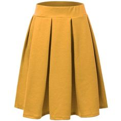 Doublju Elastic Waist Flare Pleated Skater Midi Skirt (Plus size... ($16) ❤ liked on Polyvore featuring skirts, pleated midi skirt, flared midi skirt, yellow skater skirt, flared skirt and womens plus size skirts