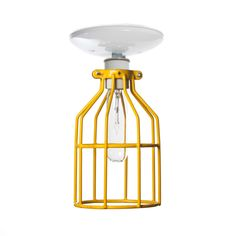 Industrial Lights - Industrial Lighting - Yellow Cage Light - Ceiling Mount