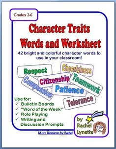 Free!!! Character trait word strips, worksheet and ideas!!!!