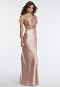 Charmeuse one shoulder dress with pleated bodice, beaded criss-cross waist and open back •Ruched one shoulder neckline•Beaded empire waist•Charmeuse satin skirt•Open back with center zipper and sweeping train
