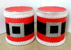 Altered Pringle cans.  Cute for Christmas cookie exchanges!