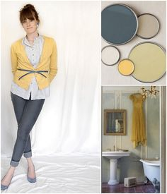 Color Palette : Yellow + Steel Blue + Off White