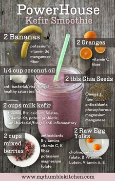 How To Make Milk Kefir - A Probiotic Yogurt-Type Drink - I'm in love with Chia and this is one of my favorite breakfasts! Juice Smoothie, Smoothie Drinks, Healthy Smoothies, Healthy Drinks, Smoothie Recipes, Healthy Snacks, Healthy Recipes, Nutribullet Recipes, Raw Egg Smoothie