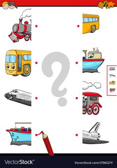 Cartoon Illustration of Educational Game of Matching Halves with Transportation . Educational Activities For Toddlers, Preschool Worksheets, Kindergarten Activities, Teaching Kids, Kids Learning, Kids Education, Kids Playing, Geek News, Lizzie Mcguire