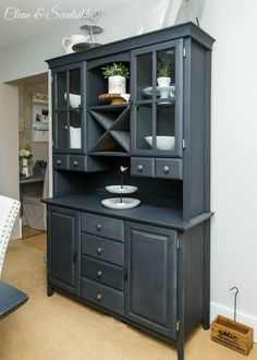 Dining room design ideas.  Buffet and hutch painted in ACSP Graphite.