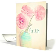 faith luke 1:37 For nothing is impossible with God ranunculus flowers in vase card
