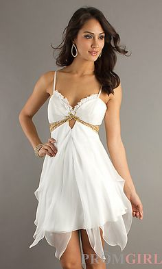 Short Ivory Spaghetti Strap Dress. at PromGirl.com  DJ-7291