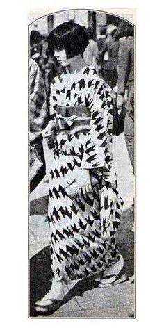 """Moga"" in a summer yukata, c1927, Japan. ""Moga"" were Japan's equivalent of flappers in the West. http://en.wikipedia.org/wiki/Modern_girl"