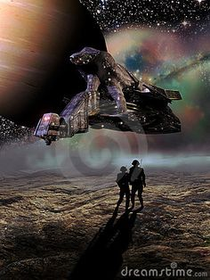 Two astronauts have been abandoned on a rocky planet. The spaceship which had transported them takes off, leaving them alone.