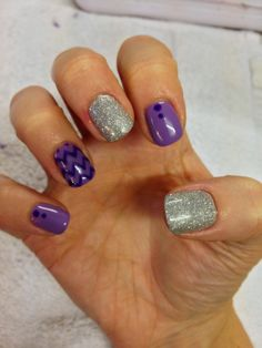 CND Shellac Nail Art - chevron manicure in purple using Lilac Longing and Grape Gum and Gosh Silver nail glitter mixed with Mother of Pearl.