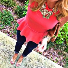 Jcrew and Tory are double trouble! #preppy #prep #jcrew #tory #toryburch #peplum #sandals #fashion #style #statementnecklace #jewerly #hotpink #Padgram
