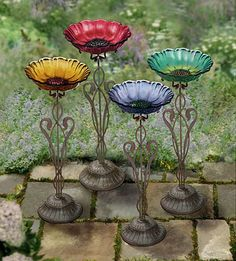 Image detail for Small Glass Flower Bird Bath Garden Totems, Glass Garden Art, Glass Art, Glass Bird Bath, Glass Birds, Outdoor Crafts, Outdoor Art, Garden Crafts, Garden Projects