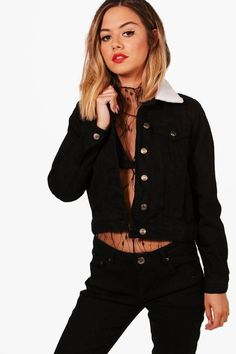 boohoo Petite Victoria Borg Collar Denim Jacket