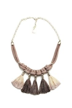 Taupe Tassel Necklace Boho Necklace Rope Necklace by gudbling