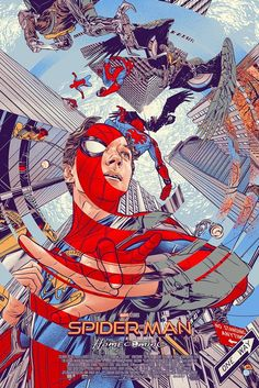 Am not sitting through another spiderman movie I'm just not doing it but this poster from Mondo of Spiderman Home-coming is stunning