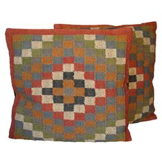Tribal Indo Kilim Geometric Pillows (Set of Two) $66 overstock.com