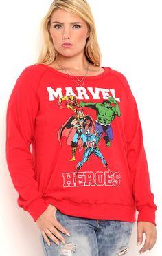Deb Shops Plus Size Long Sleeve Reversible Marvel Heroes Top $21.00