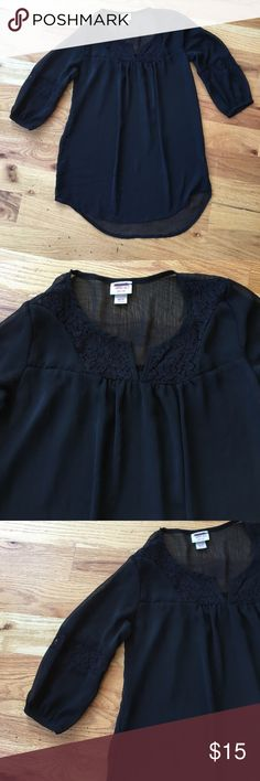 Beautiful Black Sheer Blouse with Lace Panels Tunic style split neck popover blouse. Sheer polyester fabric with lace detail at sleeves and yoke. A few tiny picks but not noticeable at all. There was a tiny hole on the back seam but was repaired nicely. Mossimo Supply Co Tops Blouses