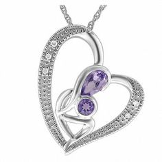 #Zales - #Fabrikant-tara International L Amethyst and Diamond Accent Motherly Love Heart Pendant in Sterling Silver - AdoreWe.com