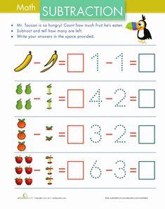 Kindergarten Subtraction Worksheets: Subtraction with Pictures: Fruit