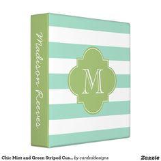 Chic Mint and Green Striped Custom Monogram Vinyl Binders