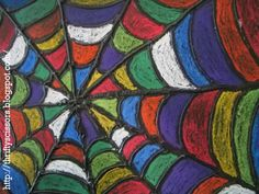 Thrifty Scissors: Draw a Design from A Spider's Web - 2-4th grade art project. The kids would love this. Need puff paints.