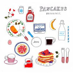 Draw with pancakes breakfast Pancake Drawing, Food Drawing, Editorial Illustration, Cute Illustration, Recipe Drawing, Sketch Note, Breakfast Pancakes, Breakfast Club, Sketch Painting