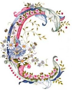 pink blue flower letter C Silk Ribbon Embroidery, Hand Embroidery, Machine Embroidery, Embroidery Designs, Creative Lettering, Lettering Design, Hand Lettering, Fancy Letters, Monogram Letters