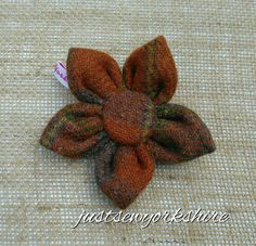 Handmade Rust Harris Tweed Fabric Flower by JustSewYorkshire