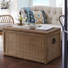 You don't need less stuff—you need more storage.  And with nearly 7 cu ft of interior space, our handsome Lindi Trunk is large enough to hold it all. Crafted of natural rattan over a robust wooden frame, this trunk features metal medallion ring handles and a clear lacquer finish that allows the natural beauty of the materials to shine through.  A Pier 1 exclusive.