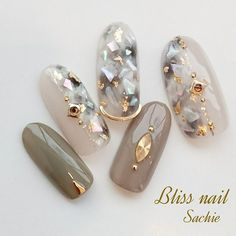 Herbst / Party / Frauenverein / Hand / Shell-Bliss iss Sachi Nageldesign - - New Ideas Asian Nails, Korean Nails, Japanese Nail Design, Japanese Nails, Beautiful Nail Art, Gorgeous Nails, Cute Nails, Pretty Nails, Japan Nail Art