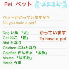 Mistake,it should be: Do you have a pet  ペットをかっていますか?