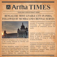 The climate, housing, infrastructure, personal safety & many more factors make #Bangalore the most livable city in #India