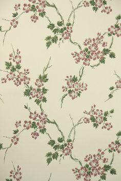 Creme Pink Floral Wallpaper