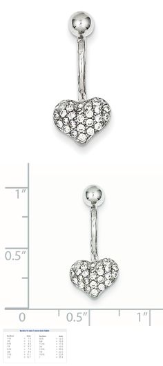 Other Body Jewelry 10K White Gold With Cz Heart Belly Ring