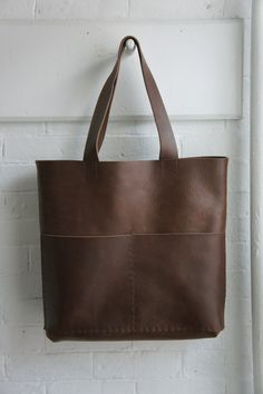 Heavy Unisex Leather Tote Havana Brown with Long Straps, via Etsy.