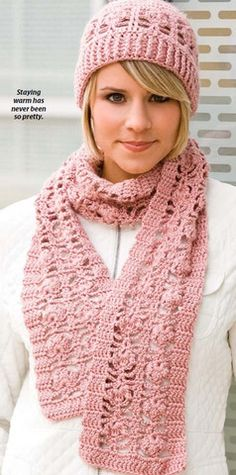 Warm and stylish crochet hat and scarf set