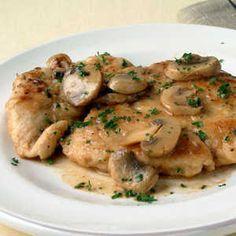 Chicken, mushrooms, shallots in a Marsala sauce.